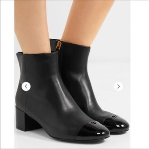 Tory Bruch Shelby Cap Toe Block Heel Leather Boots